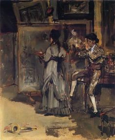 Edouard Manet, 'Eva Gonzales Painting in Manet's Studio on the rue Guyot', 1870, oil on canvas. The figure on the right is Léon Leenhoff in Spanish costume.