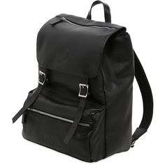 Invicta Men My Jolly Total Black Leather Backpack ($440) ❤ liked on Polyvore featuring men's fashion, men's bags, men's backpacks, mens leather backpack and mens backpack