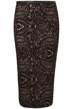 Black Paisley Tube Skirt