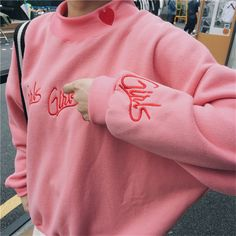 Fashion Women sweatshirts autumn winter 2016 korean style new pullover cute pink blue embroidery letter heart. Click visit to buy