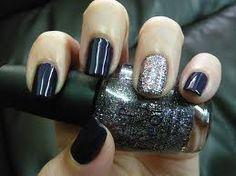 One glittered nail