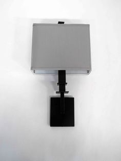 ADA Wallsconce | Grey Linen Shade | Hand Finished Satin Black | Square Details | Transitional Wall Sconce | Custom Made by iWorks