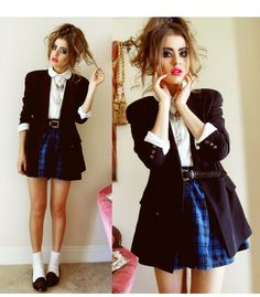 This is Bebe Zeva's buyer show in OurMall;  #BLAZER #SKIRT #Plaid #Leather #LOAFER please click the picture for detail. http://ourmall.com/?zeaa2e