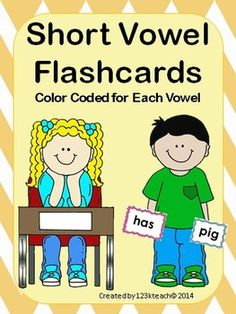 As a kindergarten teacher,  I have discovered how it has saved me so much time by simply color coding my flashcards.  Here is a set of 90 flashcards. You will receive 18  cards of each short vowel sound. These cards are color coded for each vowel sound to provide for easy storage and convenience as you locate the vowel sounds you are working on.