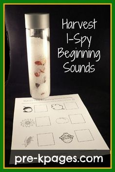Free Harvest I-Spy Beginning Sounds printable. Directions for making this easy discovery bottle plus a free printable sheet for learning to identify beginning letter sounds!  A great, fun and hands-on center activity for preschool or kindergarten.