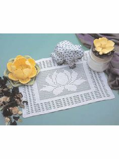 Crochet Doilies - Floral Doily Crochet Patterns - Waterlily Centerpiece and Filet Doily