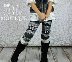 SALE Black Girls leggings with fleece  Aztec by TheRitzBoutique, $7.99