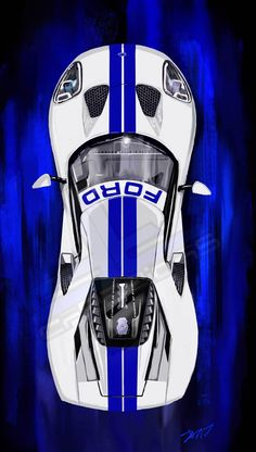 Overhead view of 2017 Ford GT. This is a print from our super car collection, and is printed on Canon semi-gloss paper. The print is placed in a cellophane bag with a cardboard backing board. This print is signed and numbered. New Sports Cars, Exotic Sports Cars, Sport Cars, Exotic Cars, Supercars, Windows Mobile, Model Auto, Ford Gt 2017, Ford Classic Cars