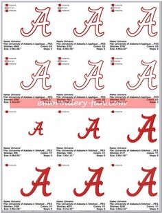 University of Alabama Crimson Tide Applique & Stitched Embroidery Designs Embroidery Monogram, Embroidery Fonts, Hand Embroidery Patterns, Machine Embroidery Designs, Applique Stitches, Applique Designs, University Of Alabama Logo, State University, Alabama Crimson Tide Logo