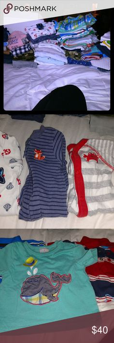 New born boys lot 27 short sleeve onsies . 8 long sleeve onsies. 1 fleece jacket. 2 romper styled button suits. 1 church suite. 1 nwt suite and tie outfit . 1- 6pack of onsies nwt. 2 swaddler sacks that Velcro. 3 footie sleepers that button or zip up. 3 t shirts. 1 bleu plaid button up. And 10 pair of pants . Carter's Other