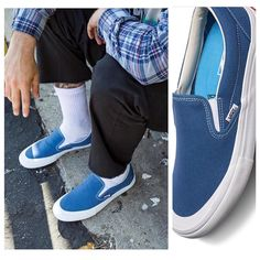 35c5cb6231 Danny G  New Vans Slip On Pros Andrew Allens navy white colorway. Andrew  personalized these with a bit of .
