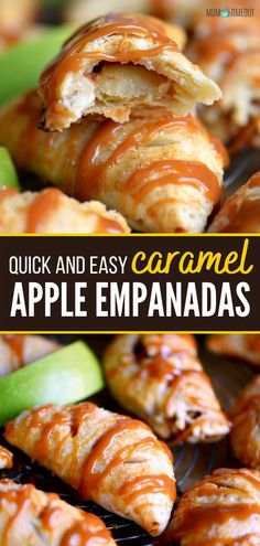 This easy recipe is the perfect way to get your sweet fix without all the fuss! Caramel Apple Empanadas are the simplest treats you can make. In less than 20 minutes, you can pull together an after-school snack or a quick dessert that is perfect this fall! Save this pin! Quick Dessert, Quick Easy Desserts, Homemade Desserts, Quick Easy Meals, Easy Dinner Recipes, Fun Desserts, Dessert Recipes, Apple Desserts, Baking Desserts