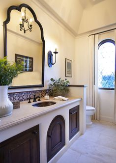 Smith Brothers built this Modern Colonial style home to include Spanish and Mediterranean elements. House Design, Spanish Style Bathrooms, Mission Style Homes, Bathroom Styling, Mediterranean Style Homes, House Styles, Modern Colonial, Colonial Style, Colonial Style Homes