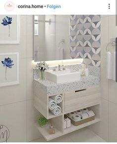 Banheiro super simples, porém lindinho, claro e clean Sigam: Aut. Washroom Design, Bathroom Layout, Simple Bathroom, Modern Bathroom Design, Bathroom Interior Design, Luxury Bedroom Design, Home Room Design, Washbasin Design, Budget Bathroom
