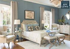 Living Spaces: Drift Away Styled by Jeff Lewis - love this wall color