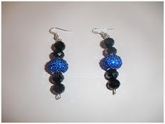 Dangling post handmade earrings with hematitis crystals and blue Swarovski offers a stylish and fun design!