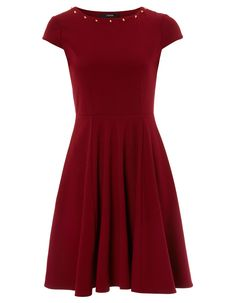 Studded Ponte Fit and Flare Dress - Burgundy | Women | George at ASDA
