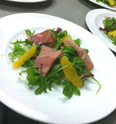Salads - Kainaliu Baby Arugula, Endive, and Orange Salad with Prosciutto di San Daniele, Citronette Dressing