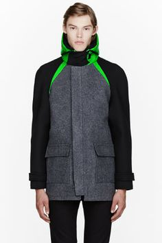 Mugler Grey Neoprene Fluorescent Green Hooded Coat for men | SSENSE