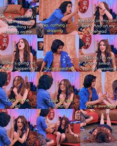 Remember when Jade realized she was sweating for the first time 😳💀😂 (credit: Jade Victorious, Victorious Nickelodeon, Icarly And Victorious, Funny Drunk Texts, Stupid Funny Memes, 9gag Funny, Funny Stuff, Monday Humor Quotes, Funny Monday