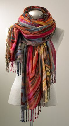 Multi Swirl Scarf, Scarves, Apparel & Accessories - The Museum Shop of The Art Institute of Chicago - fresh color Museum Shop, Mode Chic, Nuno Felting, Boho Fashion, Fashion Design, Shawls And Wraps, Scarf Styles, Bohemian Style, Scarves
