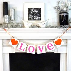 This READY TO SHIP Banner is created with WHITE thick chipboard Panels and BRIGHT PINK cardstock Letters. Choose the Heart and Ribbon OR Twine