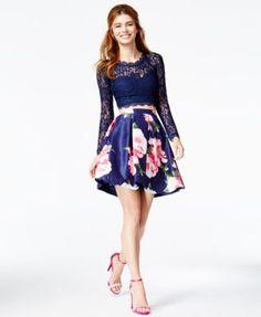 Sequin Hearts Juniors' Lace Cutout-Back Floral-Print Dress, a Macy's  Exclusive Style - Juniors Dresses - Macy's