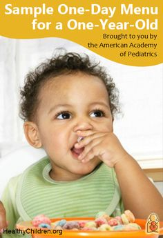 Sample 1 Day Menu for a 1 Year Old - Brought to you by the American Academy of Pediatrics.