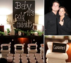 """Countdown"" Gender Reveal Party // Hostess with the Mostess® Fall Baby, Baby Winter, Christmas Gender Reveal, Gender Party, Hot Chocolate Bars, Baby Shower Winter, Baby Shower Gender Reveal, Reveal Parties, Baby Party"