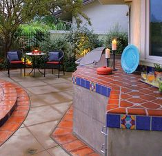 Saltillo tile and cement patio