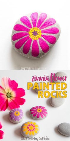 Colorful and happy flowers painted rocks - With these simple, flower-b ., craft flowers Colorful and happy flowers painted rocks - With these simple, flower-b . Rock Painting Patterns, Rock Painting Designs, Paint Designs, Rock Painting Supplies, Pattern Painting, Stone Crafts, Rock Crafts, Arts And Crafts, Easy Flower Painting