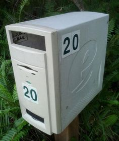 Upcycle old computer tower to mailbox.