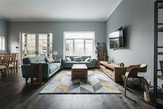 Beautiful apartment design from our Australian partner Woodpecker Flooring. Old Venice Oak flooring. Living Room Hardwood Floors, Parquet Flooring, Apartment Design, Venice, Cozy, Concept, Studio, Table, Furniture