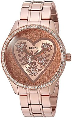 GUESS Womens U0910L3 Trendy Rose GoldTone Watch with  Rose Gold Dial  and Stainless Steel Band ** Check this awesome product by going to the link at the image.Note:It is affiliate link to Amazon.