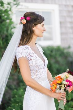 "Photography: Ruth Eileen Photography - rutheileenphotography.com Wedding Dress: Reem Acra ""Gorgeous Girl"" - http://www.stylemepretty.com/lookbook/designer/reem-acra/spring-2015/gorgeous-girl/ Floral Design: Tea Lane Farm - www.tealanefarm.com   Read More on SMP: http://www.stylemepretty.com/2016/01/26/blogger-bride-jessye-of-city-tonics-colorful-diy-wedding/"