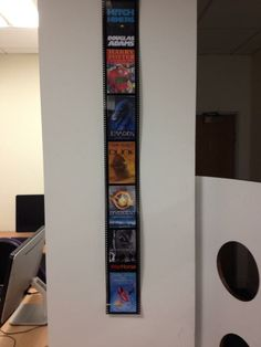 Ikea film strip frames with covers of books that have been made into films