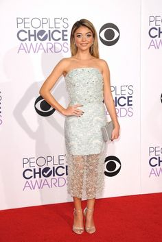 Sarah Hyland in a beaded Christian Siriano strapless dress at the 2015 People's Choice Awards