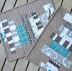Modern,Quilted,Rug,Mug,Small,Snack,Placemat,Gray,Teal,Lotta,Jansdotter,modern,quilted,mug rug, placemat,gray,teal,lotta,jansdotter,handmade,...