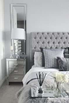 Black White and Silver Bedroom Decor. 20 Black White and Silver Bedroom Decor. Silver Bedroom, Bedroom Decor For Couples, Bedroom Inspiration Grey, Bedroom Inspirations, White And Silver Bedroom, Bedroom Interior, Grey Bedroom Decor, Grey Bedroom Design, Room Ideas Bedroom
