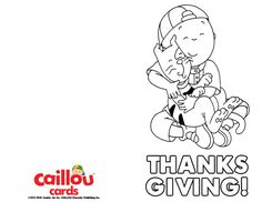 Caillou: Happy Thanksgiving Printable Card – HUGS!