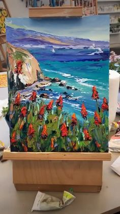 Big Sur California Painting's Acrylic Painting Flowers, Acrylic Painting Canvas, Painting Art, Buddha Kunst, Watercolor Illustration, Watercolor Artists, Watercolor Painting, Diy Canvas Art, Big Sur