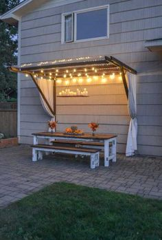 Adding DIY outdoor lighting to your summer night that can beautifully illuminate your backyard or patio. Check out these inspiring ideas! Backyard Projects, Garden Projects, Weekend Projects, Backyard Ideas, Rustic Backyard, Diy Projects, Modern Backyard, Diy Yard Furniture, Furniture Ideas