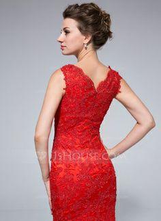 Corte sirena Escote redondo Vestido Tul Vestido de noche con Cordón rojo (trasera)