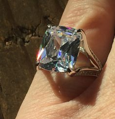 A Perfect 4.6CT Antique Brilliant Cut Russian Lab Diamond Engagement Ring - Split Shank Eagle Claw