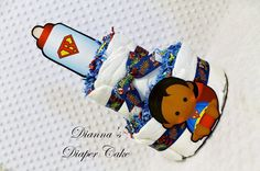 Superhero Baby Diaper Cake 2 Tier Shower by Diannasdiapercakes