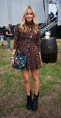 Leopard print Laura: Presenter Laura Whitmore looked as stylish as ever in a leopard print dress and ankle boots
