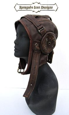 aviator, hat, flight cap, tank girl, leather, distressed, steampunk: Renegade Icon Designs by Renegadeicon on Etsy https://www.etsy.com/listing/217913939/aviator-hat-flight-cap-tank-girl-leather