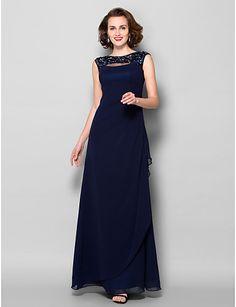 Sheath/Column Bateau Floor-length Georgette Mother of the Bride Dress (2050337) – USD $ 129.99