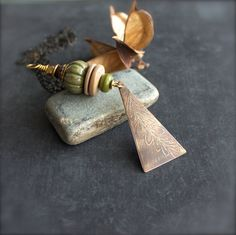 Etched Gold Brass Green Beaded Pendant Necklace Wire Wrap Ceramic Wood Bone Glass Rustic Textured Brown Fern Leaf Long Metalwork Jewellery - pinned by pin4etsy.com