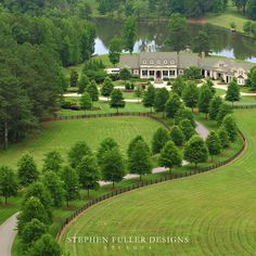 A Classic Southern Estate. I've always wanted a tree lined driveway! Southern homes - country ranch homes - homes with on a pond - homes on a lake - home exterior design ideas - home building ideas - arch digest homes - gorgeous homes in the woods - Tree Lined Driveway, Landscape Design Plans, House Landscape, Landscape Elements, Driveway Landscaping, Driveway Ideas, Acreage Landscaping, Driveway Gate, Asphalt Driveway